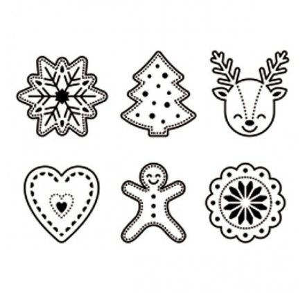 Homespun Christmas shapes clear rubber stamp set