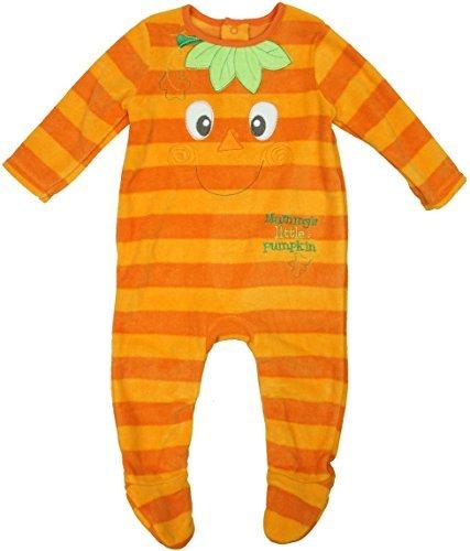 Baby Mummys Kleiner Kürbis Halloween Fleece Kostüm Strampler Größen von Neugeborene bis 18 Monate - Orange, Orange, 9 - 12 (Kostüme Anti Halloween)