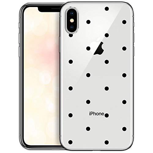 OOH!COLOR iPhone X iPhone XS Hülle Silikon Case Transparent Schutzhülle dünn Handyhülle mit Motiv Schwarze Punkte