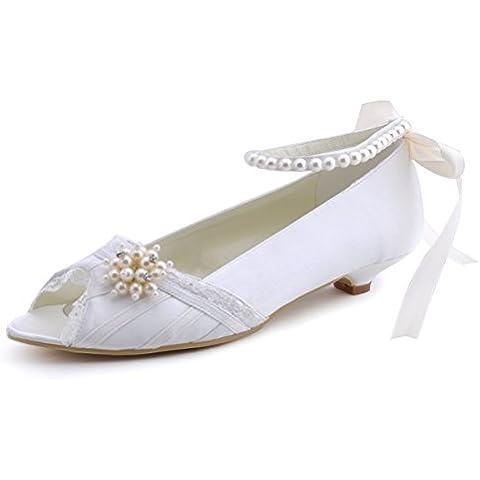 Elegantpark EP41021 Rosa Accessorio Perle Nastro Cinturino Open Toe Scarpe a Tacco Basso da sposa Ballo