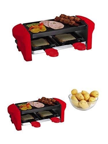 Raclette-grill Gusseisen (Raclette-Grill für 2 Personen 350 Watt Rot Antihaft Beschichtung (Tischgrill, kleiner Elektrogrill, 2 Pfännchen, Aluguss-Grillplatten))