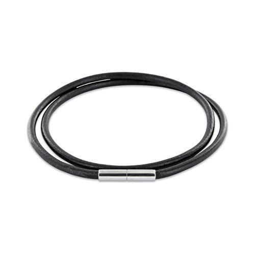AURORIS Echtleder Kette schwarz Dicke 3mm mit Tunnel-Drehverschluss aus Edelstahl/Länge: 45cm