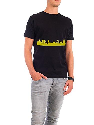 """Design T-Shirt Männer Continental Cotton """"Barcelona 06 Skyline Print in Spring-Green monochrome"""" - stylisches Shirt Städte Städte / Barcelona Reise von 44spaces Schwarz"""