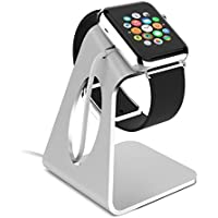[New Release] Apple Watch Stand, ACEPower® [Charging Dock] Apple Watch Charging Stand Aluminum build cradle holds Apple Watch [38mm and 42mm Sport / Edition 2015] - Comfortable viewing angle for Apple Watch (Silver)