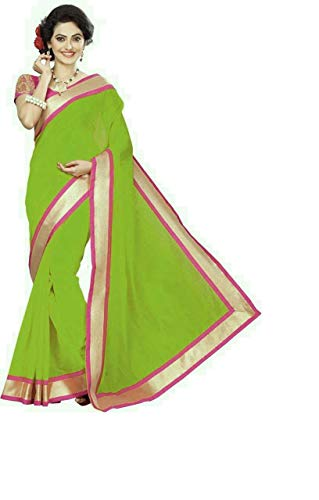 Bollywood Indian Traditional Collection Party Wear Cotton Silk Saree Sari,Function, Karneval, Birthday Dress, Geburtstag, Indische Kleid,Hippie Kleid (Green) -
