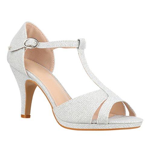 Elara Damen Pumps Spitz | Moderne High Heels | Bequeme Riemchen Stilettos | Chunkyrayan FZ780 Silver-38