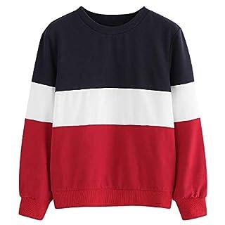 TWIFER Langarm Cut Sew Pullover Streifen Shirt Hoodie Print Sweatshirt Damen Herbst Sweater (XL/EU 44, Rot)