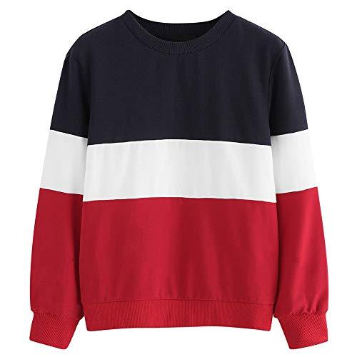 TWIFER Langarm Cut Sew Pullover Streifen Shirt Hoodie Print Sweatshirt Damen Herbst Sweater (XL/EU 44, Rot) (Shirt Thor Kostüm)