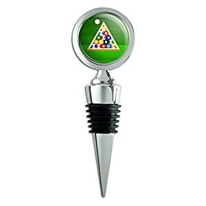 Billiard Balls and Triangle Pool Table Wine Bottle Stopper by Graphics and More