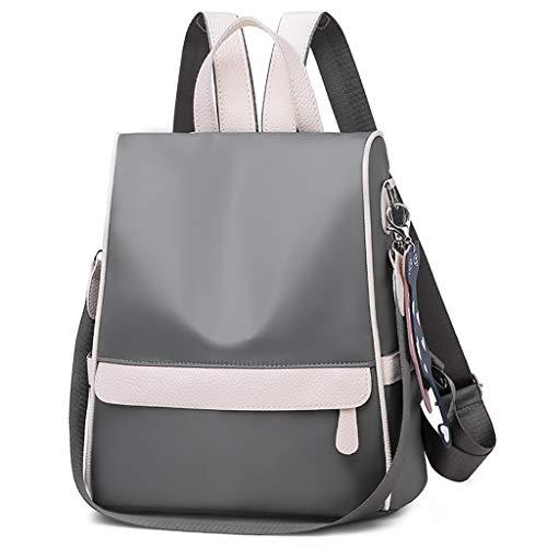 erthome Frauen Oxford Casual Rucksack Wild Travel Student Bag Canvas Schultertasche Rucksack Handtasche Aktentasche Herren Laptoprucksäck Backpack (Grau)
