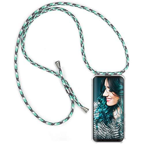 ZhinkArts Handykette kompatibel mit Samsung Galaxy S8 - Smartphone Necklace Hülle mit Band - Schnur mit Case zum umhängen in Mint Camouflage (Taschen Mit Seil -)