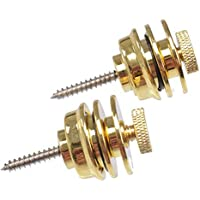 TIANOR 2 piezas Correa Guitarra Cierre de Seguridad Security Lock Strap- Uñas de Metal de la Cola de la Guitarra, Hebilla para Guitarra y Bajo, Dorado