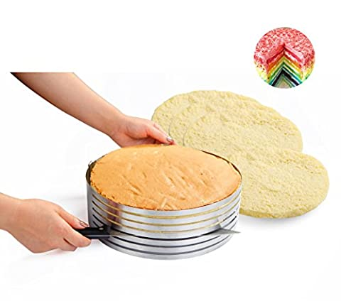 Somine Edelstahl verstellbare Tortenbodenteiler Scalable Kuchenring Schicht Kuchen Slicer von