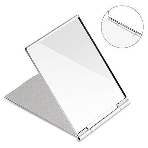 Kentop Zusammenklappbar Kosmetikspiegel Reise Spiegel Tragbarer Taschenspiegel Klappbar Spiegel Silber