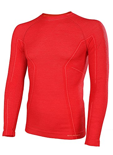 41Bx1GGw5nL - BRUBECK Functional Long Sleve Shirt for Men, Size M, Color Red, LS12820, Active Wool