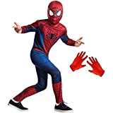Complete Spiderman Costume + Gloves + Mask Superhero Costume | Halloween Costume | Cosplay Carnival Costumes For Children | Fancy Dress Competition | B'day Party | Birthday Gift | B'day Gift | Baby Show | Fancy Dress Costume | Kindergarden | Fancy Dress S
