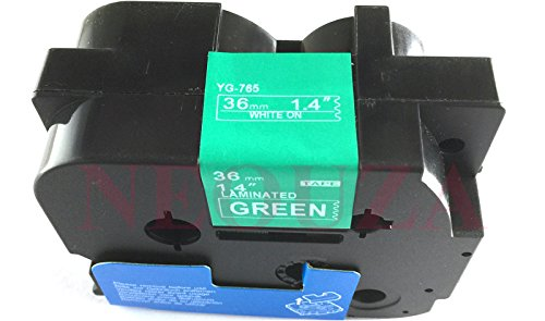 Compatibile per Brother P-Touch TZe TZ White on Green Label tape 6mm 9mm 12mm 18mm 24mm 36mm all size TZe-765 36mm Green/White