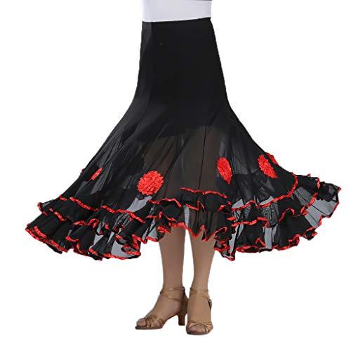 F Fityle Bauchtanz Rock Tanzrock Standard Maxi Karneval Verrücktes Kleid Tanz Kostüm für Flamenco, Walzer, Tango - rot, M - Langer Rock Aus Mikrofaser Rock