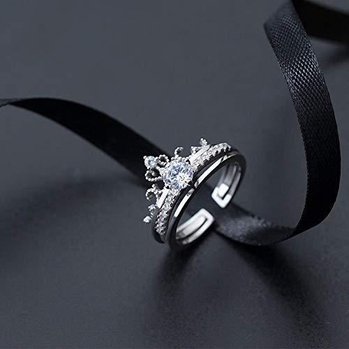 Lnyy Sterling Silber Ring einzigen weiblichen Mode Bohren Krone Ring Temperament einfach Freundin Frau Ring