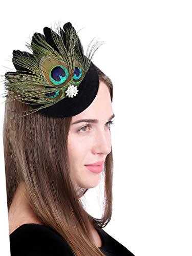 FEIBAO Tee-Party Faszinator Federhut Feder Haarklammer Pillbox Hut für Mädchen (Z-Schwarz+Pfau)