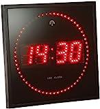 Lunartec Wand Funkuhr Digital: LED-Funk-Wanduhr mit Sekunden-Lauflicht durch Rote LEDs (Elektronische Wanduhr)