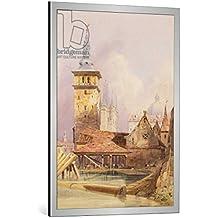 """Cuadro con marco: Thomas Shotter Boys """"Prague"""" - Impresión artística decorativa con marco de alta calidad, 70x100 cm, Plata cepillada"""