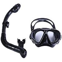 Zhuhaimei,Professionelle Tauchen Wassersport Ausbildung Schnorcheln Silikon Maske Schnorchel Gläser Set(Color:SCHWARZ)