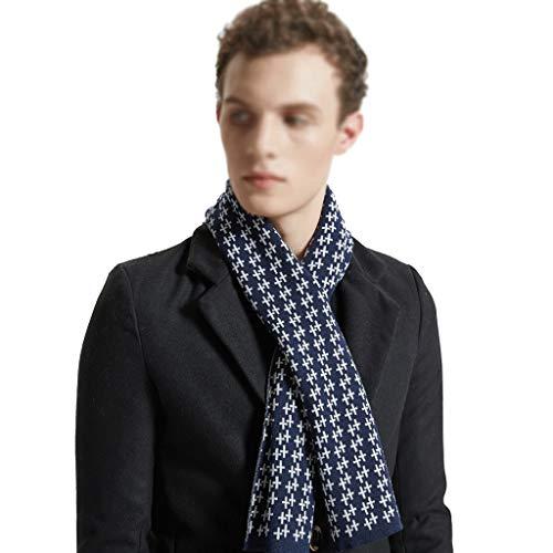 Herren Winter Schal Herren Wollschal Klassische Cross Schal warme und Bequeme Art und Weise Decke Schal Warm Lange Scarf (Color : Blue)