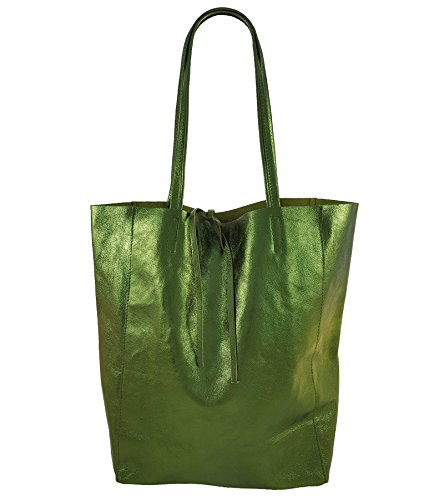 FreyFashion - Made in Italy, Borsa tote donna Verde metallizzato