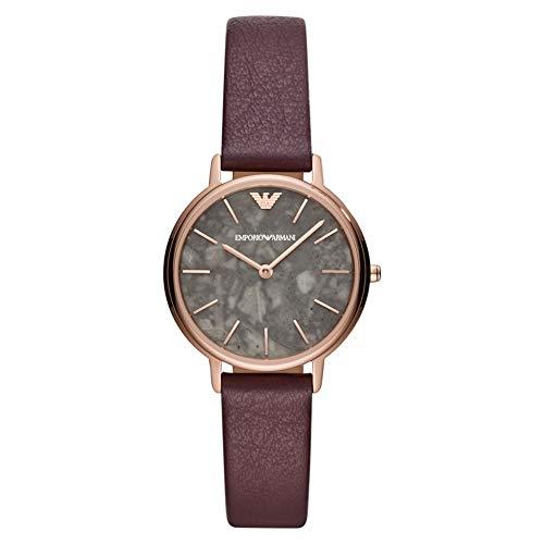 Emporio Armani Damen Analog Quarz Uhr mit Leder Armband AR11172