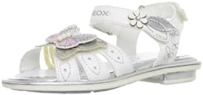Geox J Sand.giglio F White/Silver Formal Sandal J32E2F54C0007 10 UK Junior, 28 EU