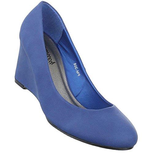 Damen Pumps Schuhe High Heels Keil Wedges Schwarz Beige Blau Rot 36 37 38 39 40 41 Blau