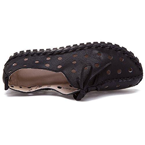 Shenn Femmes Creux Faible Talon Loisir Cuir Mode Baskets Noir