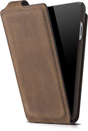 """Flip Aus Leder (Blumax Handyhülle Echt Leder für iPhone 6 / 6s als Flip Case für das Apple iPhone 6/6s 4,7"""" Zoll mit Magnet Vintage Look Farbe Braun)"""