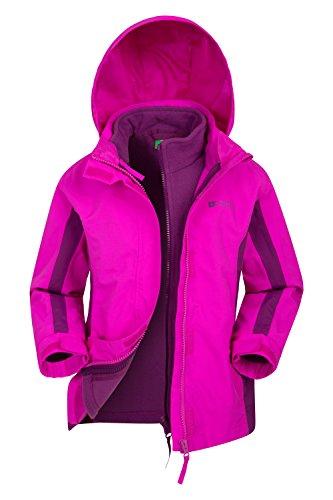 Mountain Warehouse Lightning wasserfeste 3-in-1-Kinder-Jacke - Triclimate-Jacke mit versiegelten Nähten, abnehmbare Kapuze, Fleece-Futter, mehrere Taschen - zum Wandern leuchtendes Pink 98 (2-3 Jahre)
