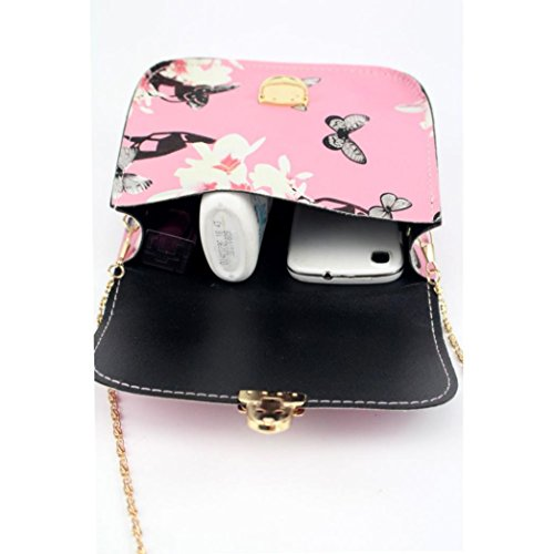 Transer PU Leather Handbags & Single Shoulder Bags Women Zipper Bag Girls Hand Bag, Borsa a spalla donna Black 17cm(L)*14(H)*7cm(W) Pink