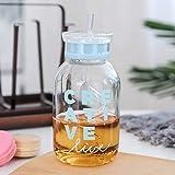 HKDBZ Wasserflasche Karaffe Mit Strohhalm Und Deckel Für Tee Saft Trinkflasche Frei