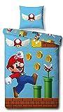 Character World Wende Bettwäsche Set Super Mario, 135x200 cm 80x80 cm, 100% Baumwolle Biber/Flanell, Games, 100% Baumwo
