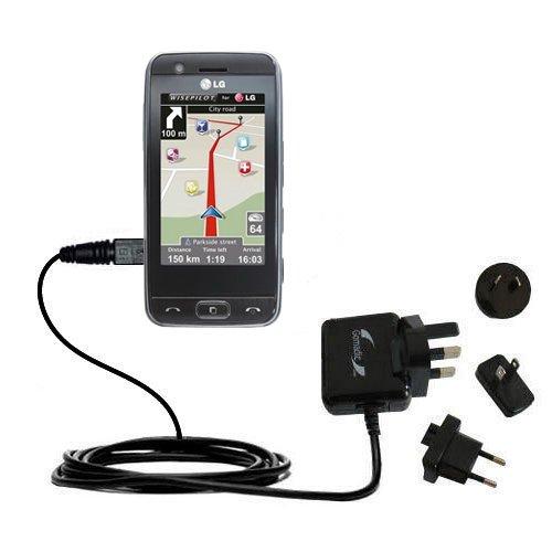 Caricabatterie avanzato 2A AC da muro internazionale compatibile con LG Encore con la Tecnologia TipExchange per un uso Mondiale