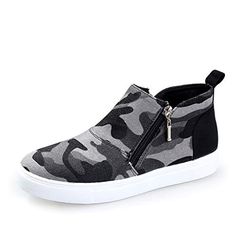 Sneakers Alte da Donna Stivaletti Corti con Cerniera Mimetica Leopardata Scarpe da Donna/Ragazza Kinlene