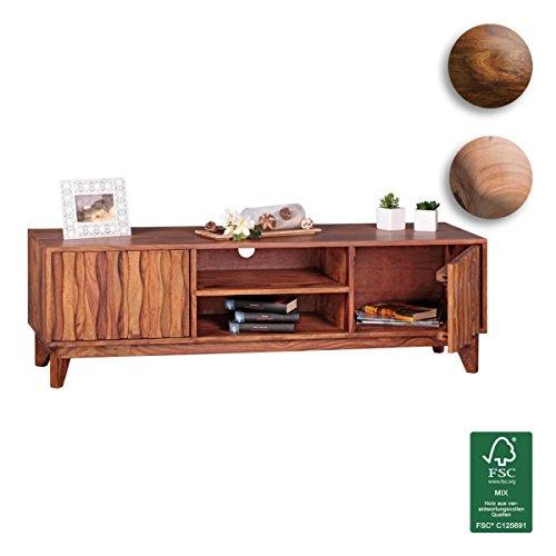 FineBuy Lowboard Massivholz Sheesham Kommode TV-Board Landhaus-Stil Echtholz