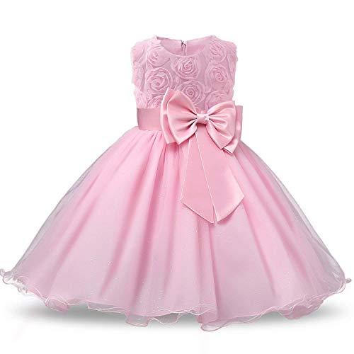 6c0b00b61eda NNJXD Vestido de Fiesta de Princesa con Encaje de Flor de 3D sin Mangas para  Niñas