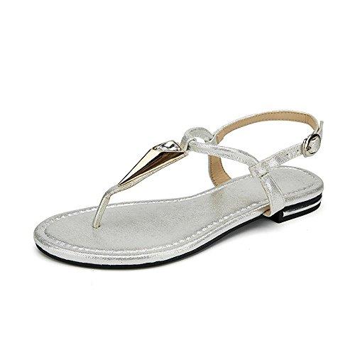 ALUK- Été - coréen plat décontracté sandales mode avec des chaussures de plage ( couleur : Silver , taille : 38 ) Silver