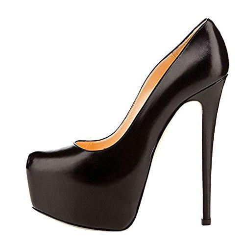 Pu High Heel Pumps (Damen Pumps Fellsamt High-Heels Stiletto mit Plateau Rutsch Hochzeit PU-Schwarz EU40)