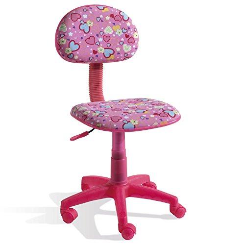 Chaise Bureau Enfant Rose Motif Cœurs, Dim 77 x 43 x 50 cm -PEGANE-