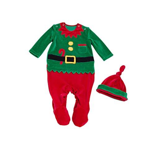 (Neugeborenes Säugling Baby Weihnachten Spielanzug Set - Niedlicher Schlafanzug Overall Pyjama Winter Kleidung für Jungen Mädchen 0-24 Monate Zhhytt)