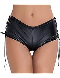 CHICTRY Hotpants des Femmes Costume Culottes Shorts de Base sous-Vetement  Shorts en Cuir Gogo c9d68c70fdb6