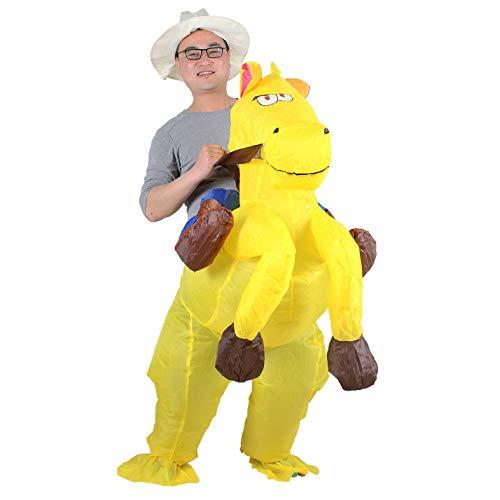 Aufblasbares Kostüm Cowboy auf Pferd, Erwachsene, Halloween-Kostüm Fasching Karneval