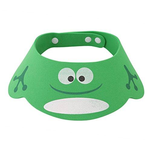 Lalang Kinder Baby Verstellbarer Shampoo Schutz Duschhaube Badekappe Ohrschutz Mütze Shampoo Schutz Shower Cap (grün)