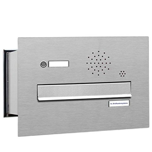 1er Premium Briefkasten Mauerdurchwurf in V2A Edelstahl mit Klingel rostfrei wetterfest als 1 Fach Durchwurfbriefkasten DIN A4 in Postkasten Design modern